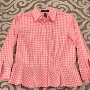Ralph Lauren pink and white gingham top size 2P